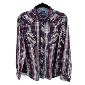 AMERICAN RAG Plaid Long Sleeve Button Fron…